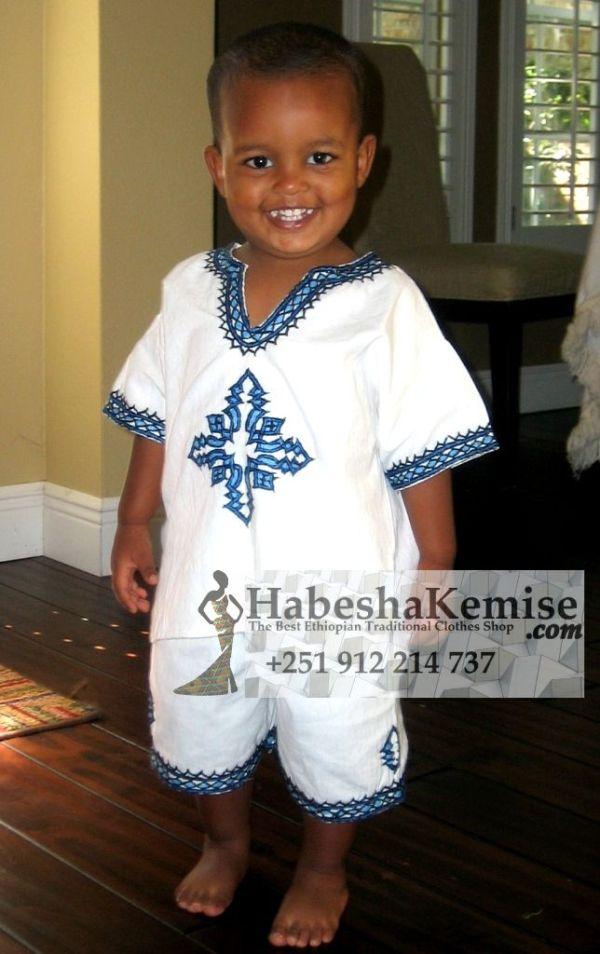 Blue Meskel Ethiopian Traditional Dress Kids-2