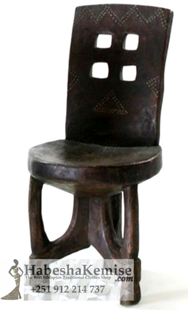 Cultural Wooden Chair Ethiopian House Decor-12