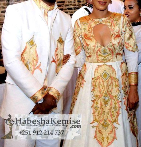 Elegance Ethiopian Traditional Dress Wedding-25