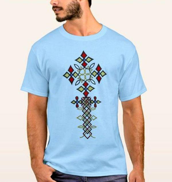 Meskel Cross T Shirt Ethiopian Traditional Dress Mens-25
