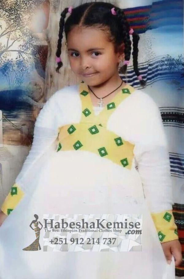 Yellow Konjit Ethiopian Traditional Dress Kids-6