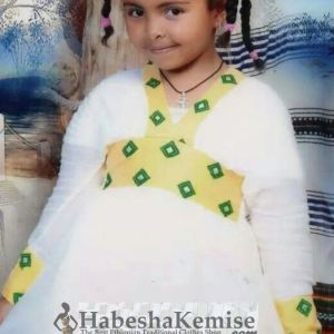 Yellow Konjit Ethiopian Traditional Dress Kids-6