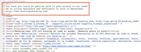 El código fuente de la web de Booking.com