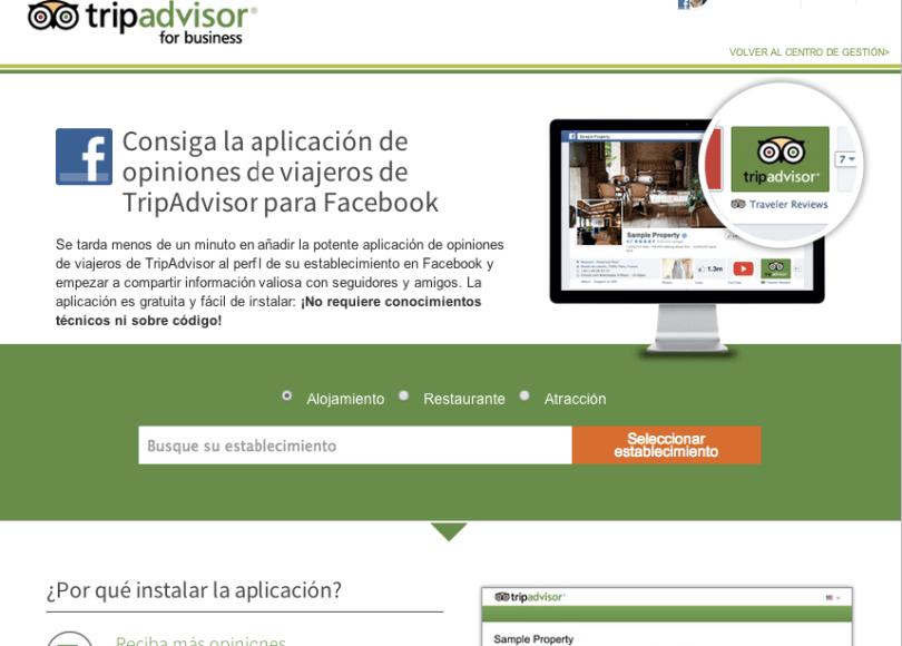 App de Tripadvisor para Facebook hoteles