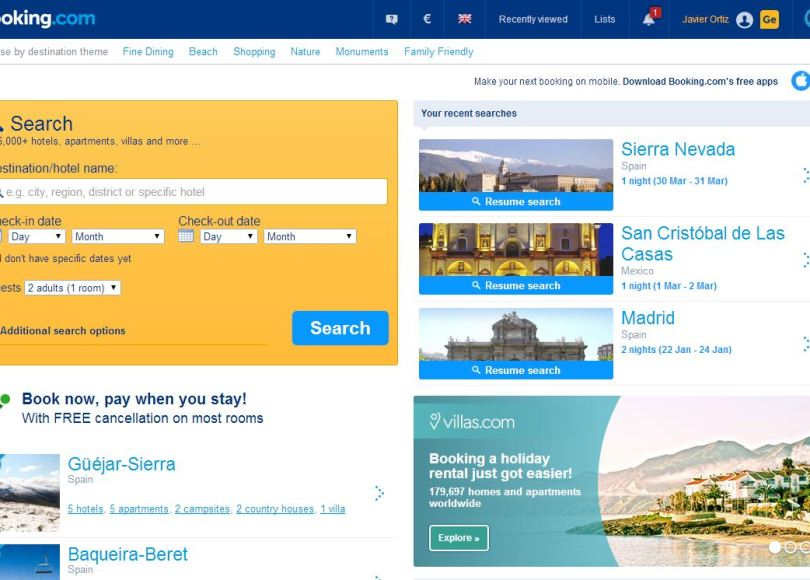 Home de Booking.com