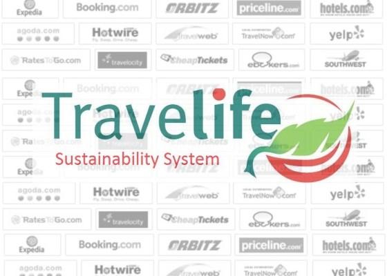 Logo de travelife sobre fondo de logos de otas