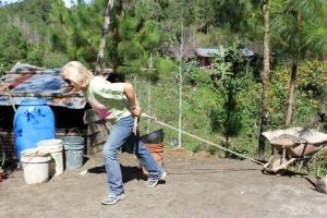 Sue Ellen and wheelbarrow
