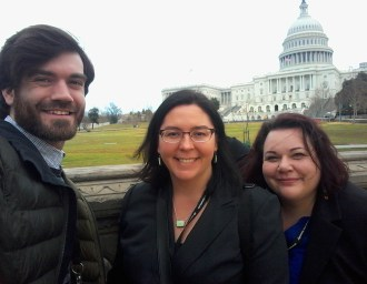 Michael Bird & Executive Director Shannon Vilhauer, from Bend Area Habitat and our very own Krista Cibis from Habitat for Humanity Portland/Metro East in front of the Capital for Habitat on the Hill 2018