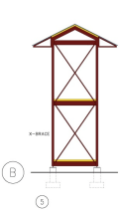 Height necessarily increases the requirements for frame stiffening with either SHEAR PANELS or steel X-BRACING, as illustrated. Even three story structures are possible using the same MENU of HabiTek components.
