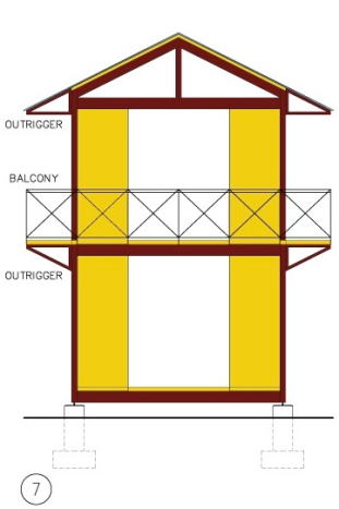 A wider framework is illustrated, with a BALCONY added. Again, all components shown fall within HabiTek's standard menu of pre-fabricated bolt-together parts.