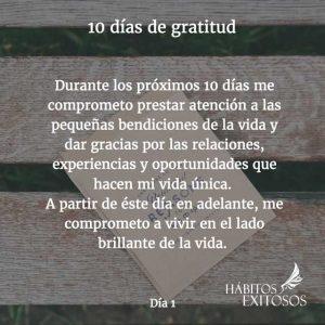 10 días de gratitud - Día 1 - Hábitos Exitosos