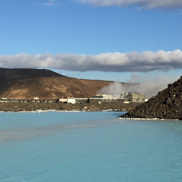 A view of the geothermal power plant that feeds the Blue Lagoon.