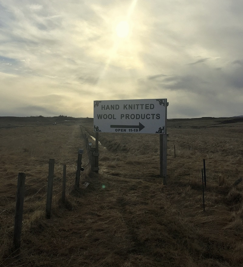 I saw this sign and we had to pull over! I got an Icelandic wool hat!