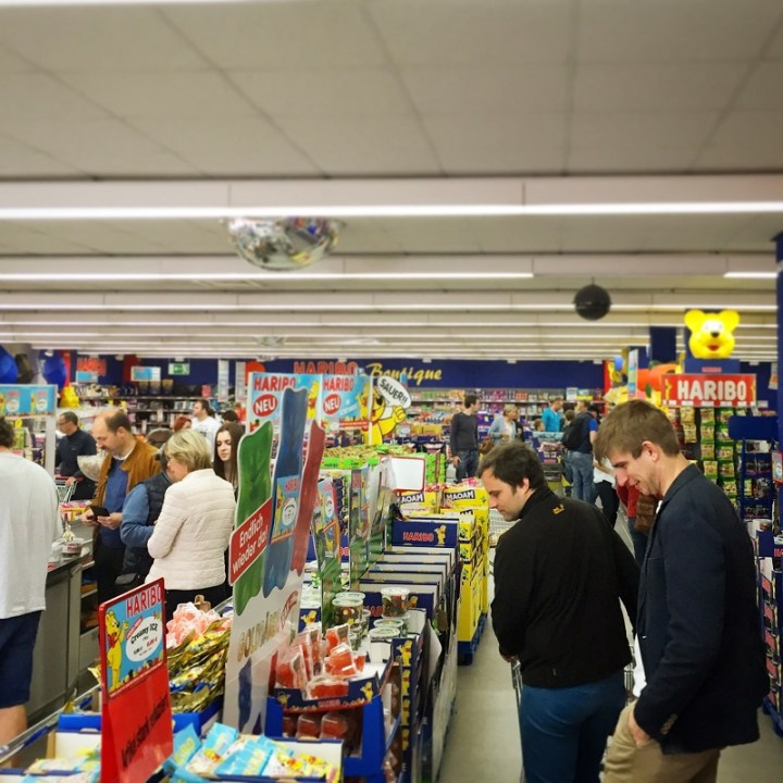 Eager shoppers marveling at all the Haribo!