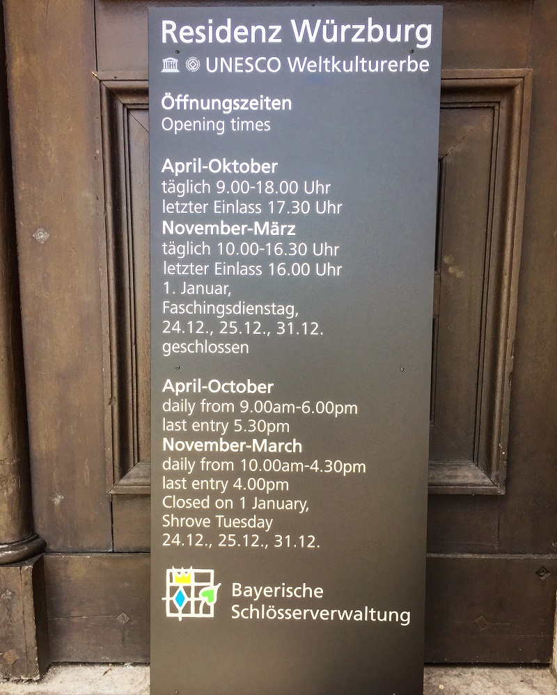 Opening times for the Würzburg Residence.