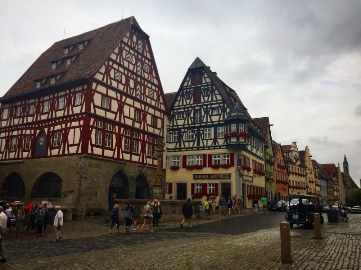 The iconic half-timbered buildings in Rothenburg ob der Tauber.
