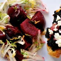 Goat Cheese & Beet Greens Crostini with a Salad of Roasted Beets & Frisée