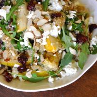 The Art of Strategic Rebellion: Toasted Quinoa Salad with Pears, Cherries, Almonds & Goat Cheese