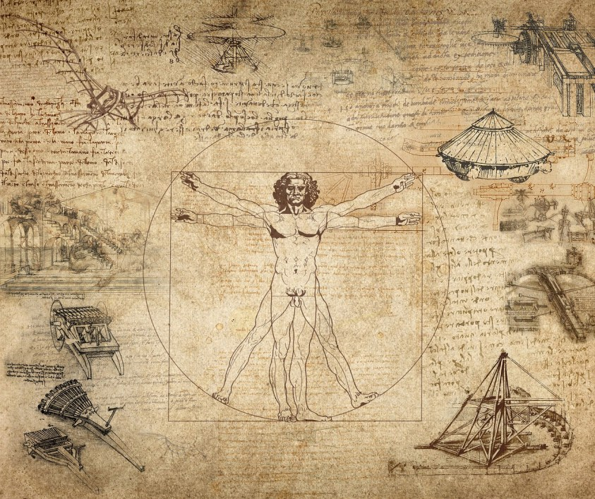 Certains dessins et inventions de Léonard de Vinci. La fameuse arbalète géante est au milieu tout à droite.
