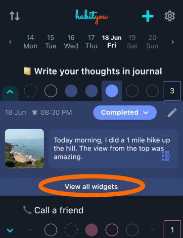 View Habit widgets