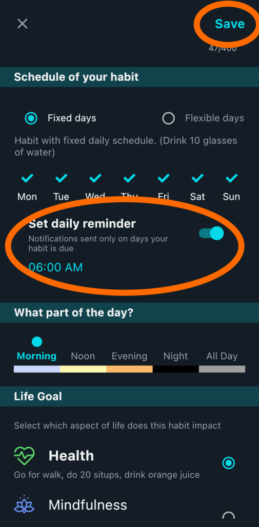 Add reminder to Habits in HabitYou
