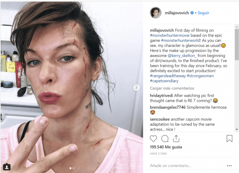 Mila Jovovich Monster Hunter rodaje Instagram