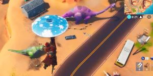 Fortnite Baila entre Tres Dinosaurios - Desafíos Semana 9 Temporada 8