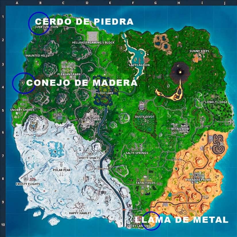 Mapa con ubicación del conejo de madera, el cerdo de piedra y la llama de metal en Fortnite
