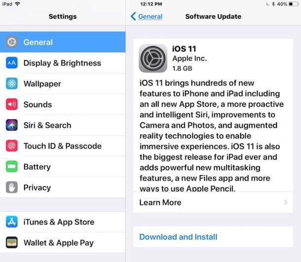 """Espere a que aparezca """"iOS 11"""" y elija """"Descargar e instalar"""""""