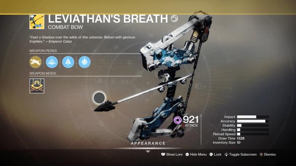 Destiny 2 Shadowkeep: Cómo obtener el arco exótico Aliento del Leviatán