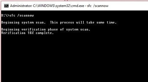 Para ejecutar el escaneo SFC, abra una ventana elevada del símbolo del sistema y escriba sfc scannow