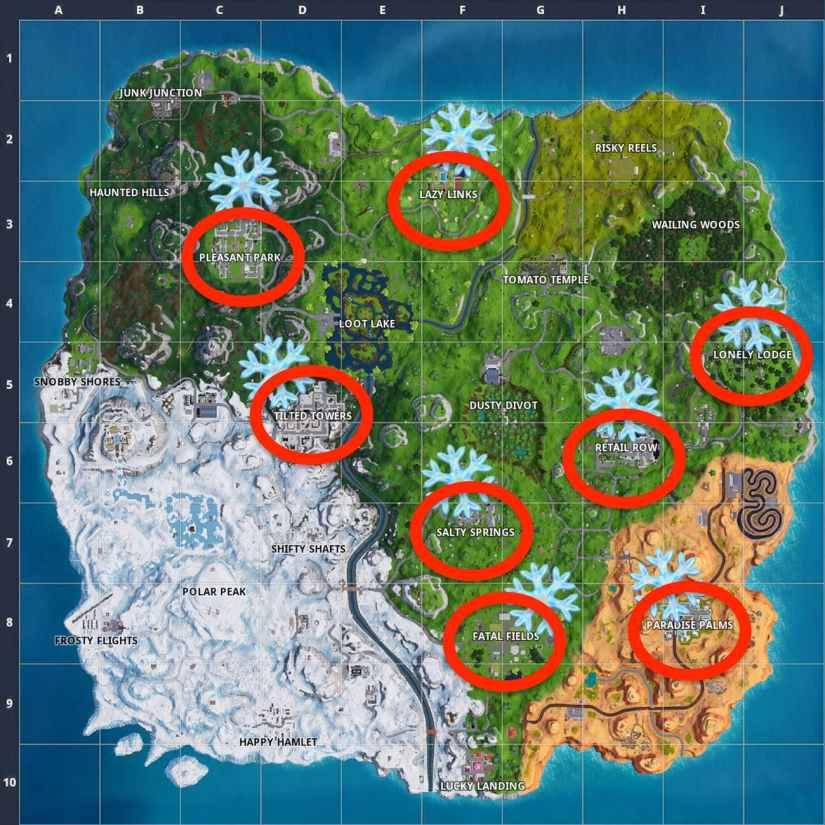 Mapa Decoración Copos de Nieve - Fortnite