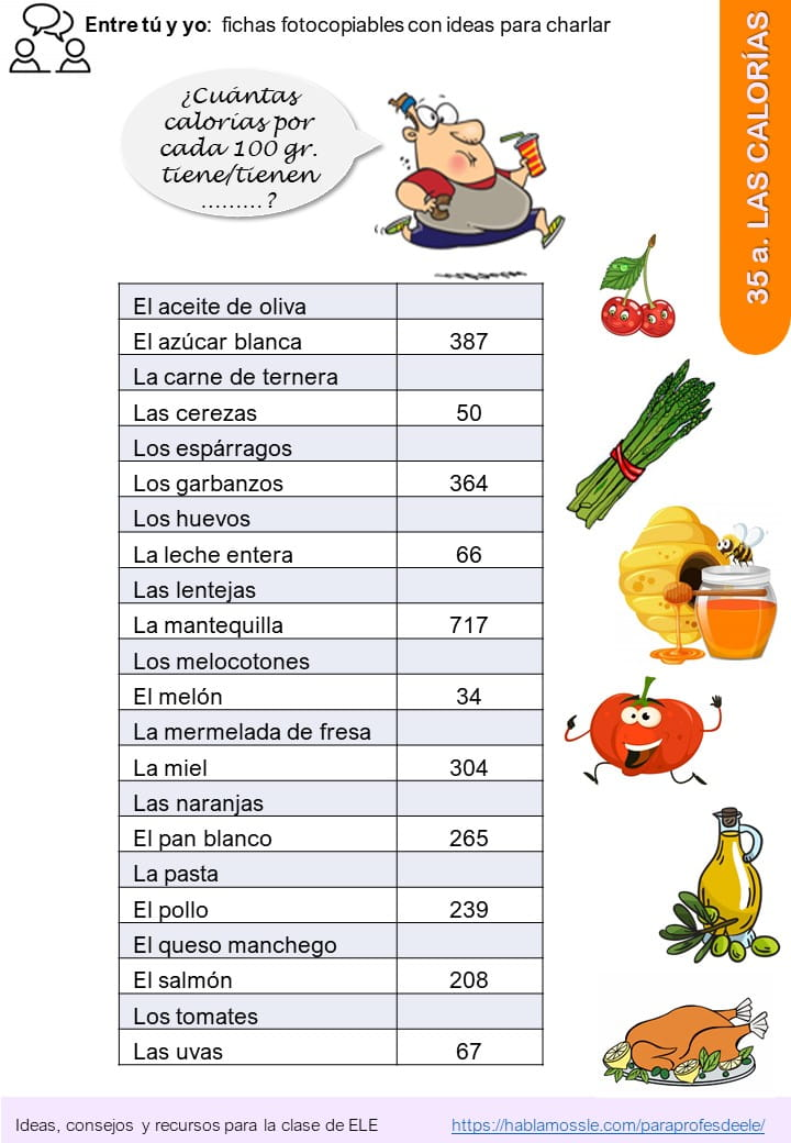 Actividad para practicar los números contando calorías
