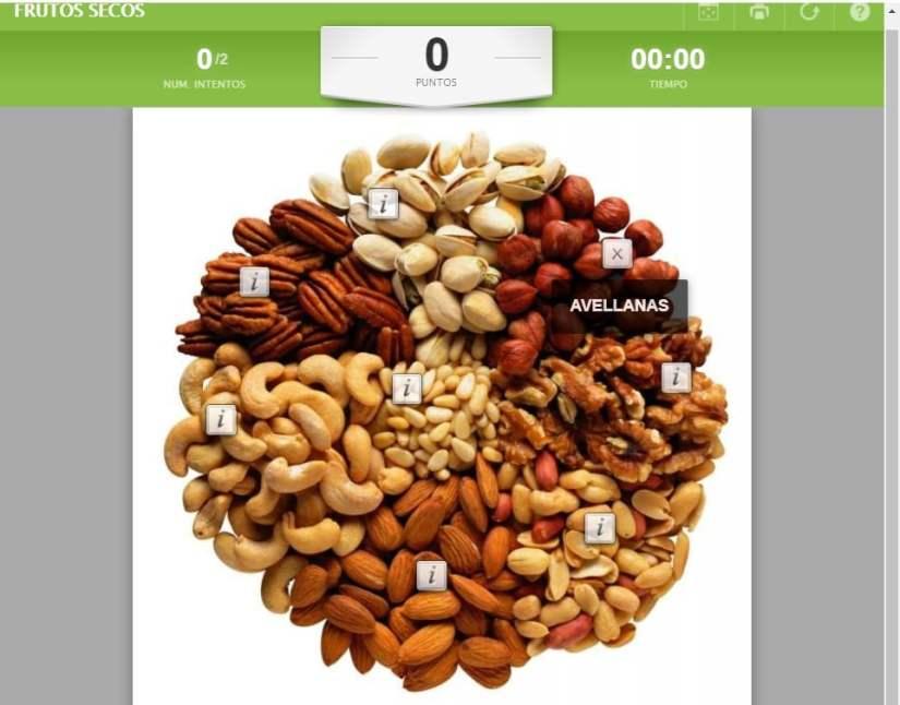 Mapas interactivos de Educaplay: los frutos secos