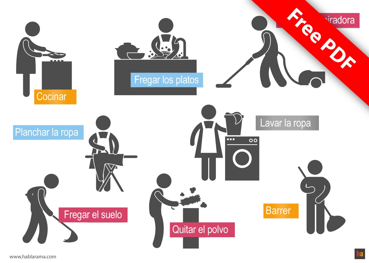 Free Spanish Vocabulary 15 Housework