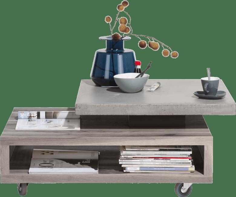 maitre table basse 90 x 70 cm plateaux pivotant