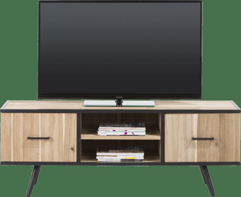 kinna meuble tv 150 cm 1 porte 1 tiroir 2 niches