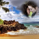 Fotomontaje de isla paradisíaca