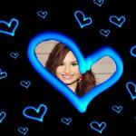 Fotomontaje de corazones azules