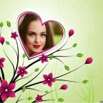 Fotomontaje flores y corazón