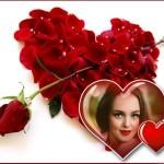Fotomontaje de corazón de pétalos y rosa roja