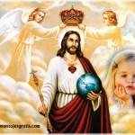 Fotomontaje de Jesús junto a los ángeles