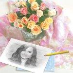 Fotomontaje de retrato pintado junto con ramo de rosas