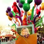 Fotomontaje con globos y lazos de colores