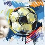 Fotomontaje de pelota de fútbol