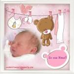 Fotomontaje de nacimiento niña