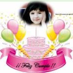 Fotomontaje de Cumpleaños con pastel y globos