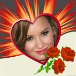 Fotomontaje de corazón y rosas rojas