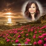 Fotomontaje de amanecer con paisaje de flores