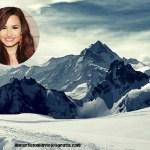 Fotomontaje de montaña nevada
